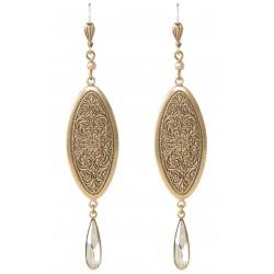 Boucles d'oreilles à cristaux Swarovski® Silver Shade et vieil or