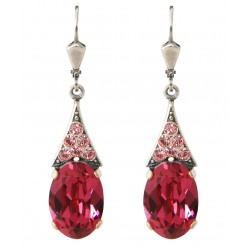Swarovski® crystal earrings Fuchsia and Light Rose on silver mount