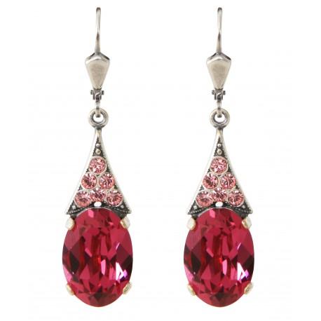 Boucles d'oreilles à cristaux Swarovski® Fuchsia et Light Rose sur monture argent