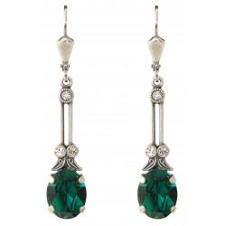 Boucles d'oreilles à cristaux Swarovski® Emerald et Crystal sur monture argent