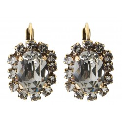 Boucles d'oreilles à cristaux Swarovski® Black Diamond de forme ovale sur monture vieil or