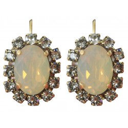 "Swarovski® ""Sand Opal"" and ""Black Diamond"" crystal earrings on an old gold frame"