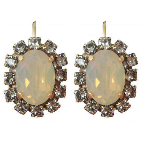 """Boucles d'oreilles dormeuses à cristaux Swarovski® """"Sand Opal"""" et """"Black Diamond""""sur monture vieil or"""