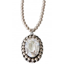 "Necklace with Swarovski® ""Light Gray Pearl"" crystal beads and Swarovski® ""Silver Shade"" crystal medallion"
