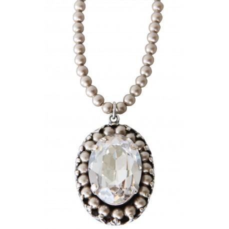 "Collier avec petites perles cristal Swarovski® ""Light Grey Pearl"" et médaillon avec cristal Swarovski® ""Silver Shade"""