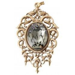 """Collier avec chaîne vieil or et médaillon avec cristal Swarovski® """"Black Diamond"""""""
