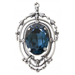 Collier avec chaîne argent et médaillon avec cristal Swarovski® Black Diamond