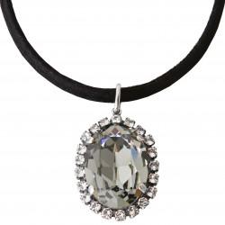 Collier lacet coton noir avec cristaux Swarovski® Black Diamond et Crystal