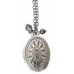 Chaîne argent avec pendentif porte-photo ciselé, perle Dark Grey Pearl et cristal Black Diamond Swarovski®