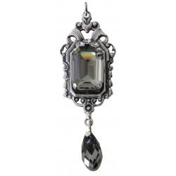 Collier avec chaîne argent et médaillon avec cristaux Swarovski® Black Diamond et Crystal