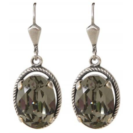 Boucles d'oreilles à cristaux Swarovski® Black Diamond