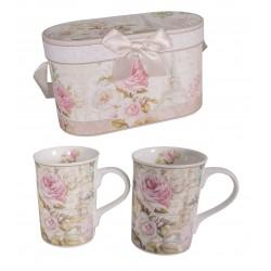 Coffret 2 mugs rose