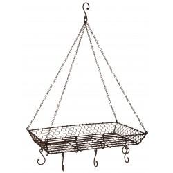 Casserolier vintage en fil de fer à suspendre
