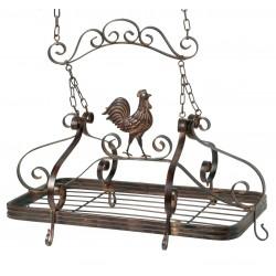 Casserolier antique coq à suspendre