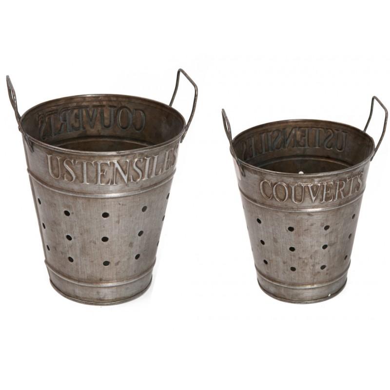 Pot couverts ustensiles en zinc par antic line id al for Pot a couverts cuisine