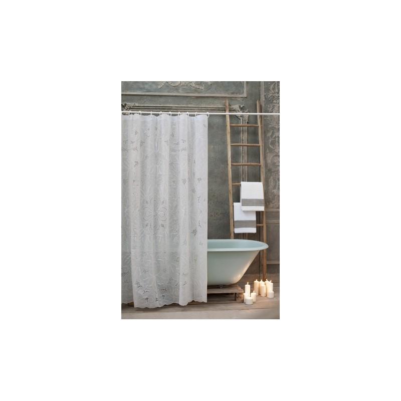 rideau de douche richelieu 178 x 182 cm en vynile blanc par blanc mariclo. Black Bedroom Furniture Sets. Home Design Ideas
