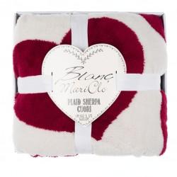 Plaid à cœurs rouge Sherpa 140 x 170 en boite cadeau