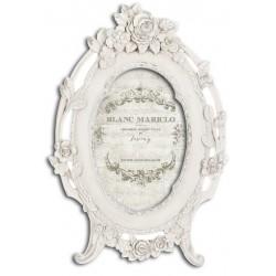 Cadre photo médaillon avec roses Cornici Blanc