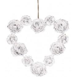 Couronne aux roses en forme de coeur blanc antique