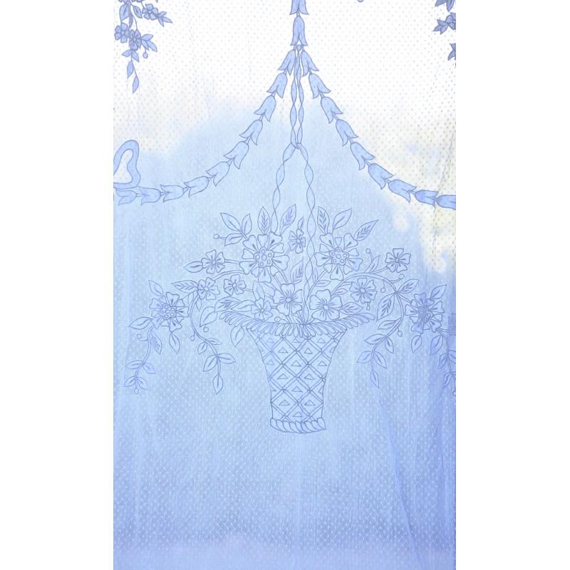 Rideau panier fleuri ivoire 130 x 300 cm - Rideaux 300 cm ...