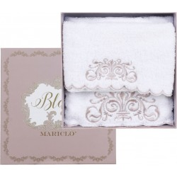 Coffret de serviettes de toilettes blanches brodées Monique collection