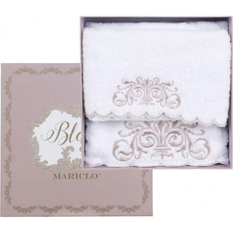 Coffret de serviettes de toilettes blanches brodées Monique collection