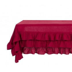 Burgundy Table cloth with ruffle Elegance Ruffle collection 180 x 290 cm