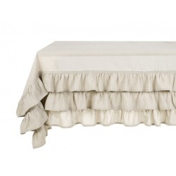 Nappe rouge avec volant Elegance Ruffle collection 180 x 290 cm