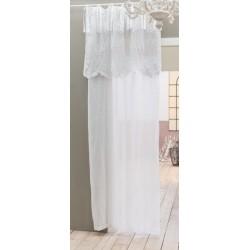 Rideau Clarissa Blanc 140 x 290 avec sa cantonnière