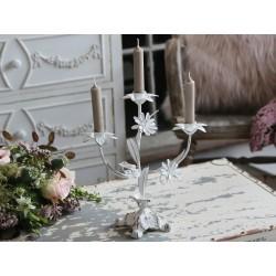 Bougeoir à fleur de stylefrançais blancantique