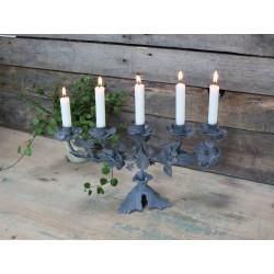 Bougeoir à fleurs gris français pour 5 bougies en zinc
