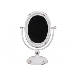 Tilt mirror on foot antique white