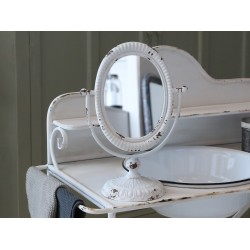 Tilt mirror on foot antique white
