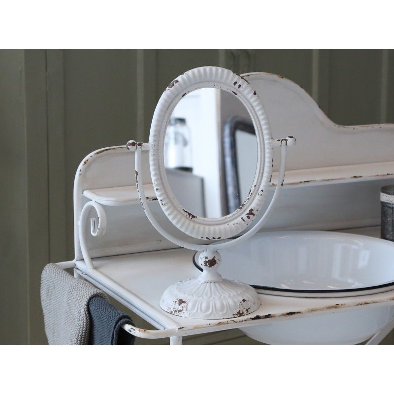 miroir inclinable sur pied blanc antique par chic antique pour une d co shabby chic et romantique. Black Bedroom Furniture Sets. Home Design Ideas