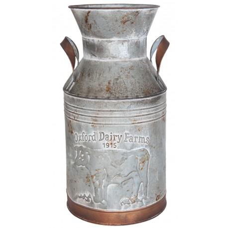 Bidon de lait décoratif couleur zinc et cuivre