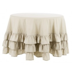 Round table cloth with ruffle Ø 190
