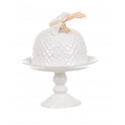 White ceramic glass cake stand
