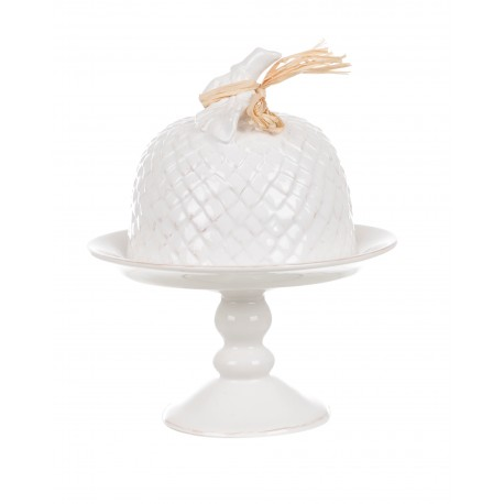 Plat a gateau en céramique blanche
