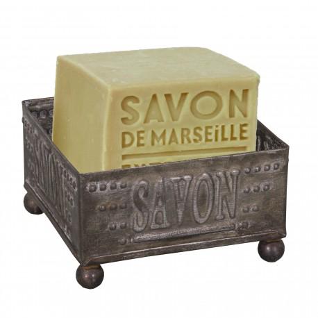Porte-savon carré en zinc