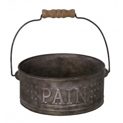 """Panier en zinc """"PAIN"""" avec anse en bois"""