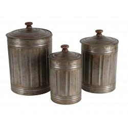 Set 3 pots avec couvercle couleur zinc