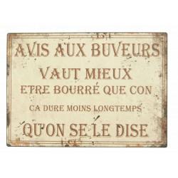 """Plaque """"Avis aux buveurs"""""""