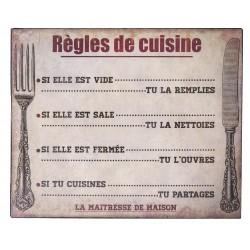 """Plaque décorative """"Règles de Cuisine"""""""