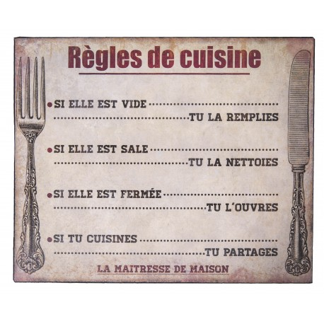 Plaque d corative r gles de cuisine par antic line for Plaque decorative pour cuisine