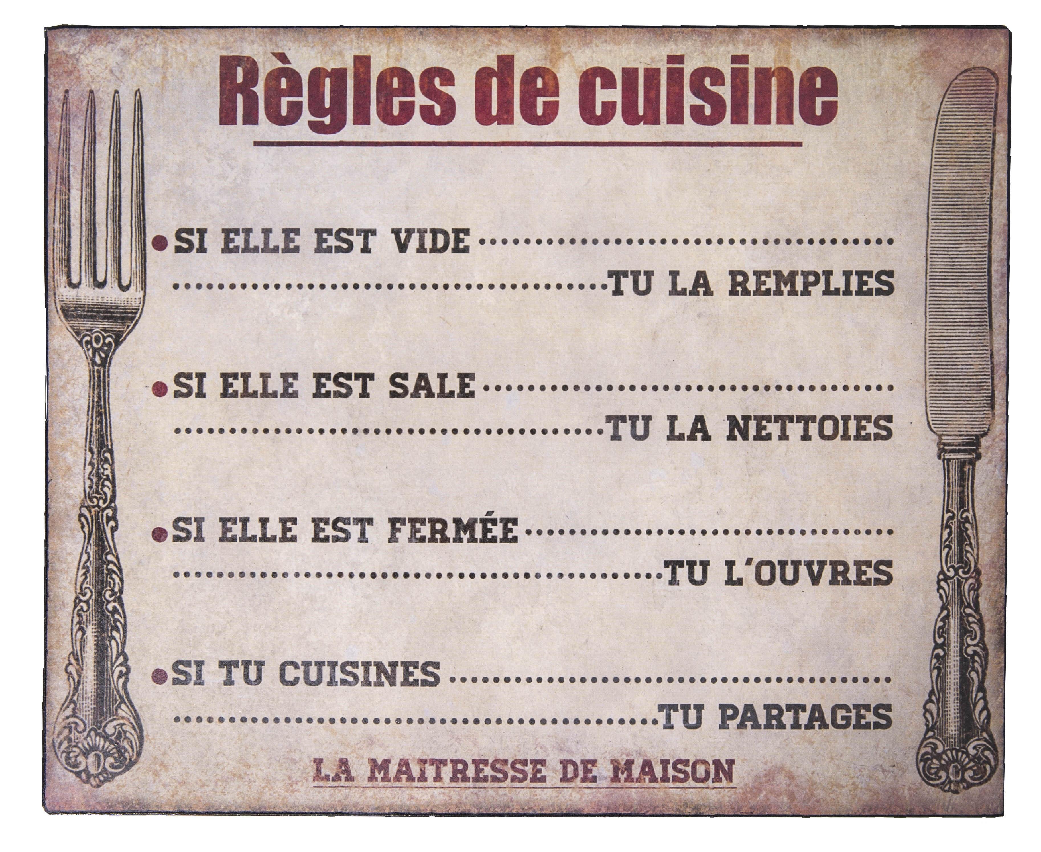 Plaque Décorative Règles De Cuisine Par Antic Line Idéale Pour Une Décoration Vintage