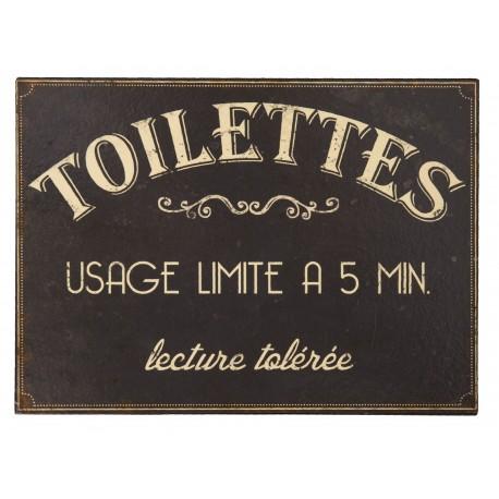 """Plaque décorative """"Toilettes : usage limité à 5 min. Lecture tolérée"""""""