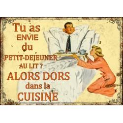 """Plaque décorative """"Tu as envie du petit-déjeuner au lit, alors dors dans la cuisine"""""""