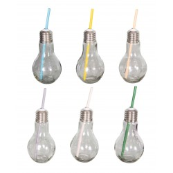 Set 6 glasses bulb with straw yellow-gray-blue-pink-green-orange