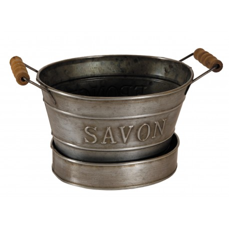Mini bassine porte savon couleur zinc par antic line for Porte savon a suspendre