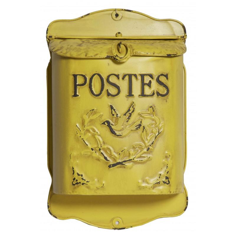 boite aux lettres postes jaune par antic line id al pour un style r tro et vintage. Black Bedroom Furniture Sets. Home Design Ideas